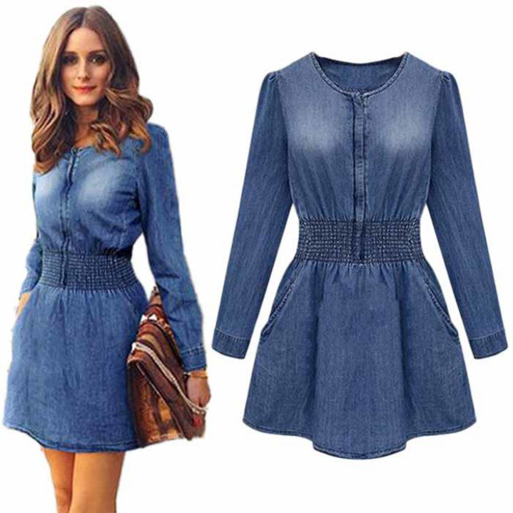 2018 New Vintage Spring Women Long Sleeved Slim Casual Denim Jeans Party Mini Dress