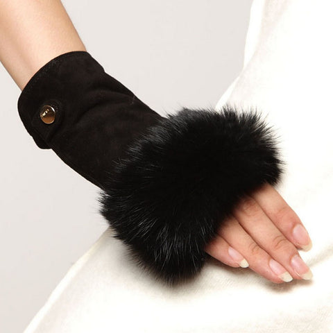 2017 Fashion Finger Less Mittens Real Genuine Leather Suede Women Gloves Solid Wrist Rabbit Fur