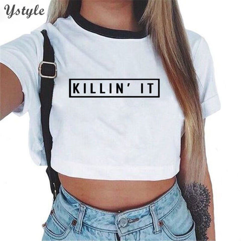 Killin it Short Sleeve O Neck Crop Top Tees Cotton White T-Shirts