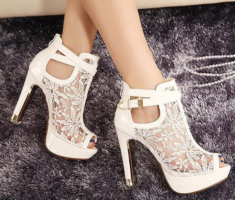 Lace Women Platform Pumps Sandals White - Black High Heels Peep Toe Shoes