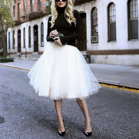 Puff Women Chiffon Tulle Skirt