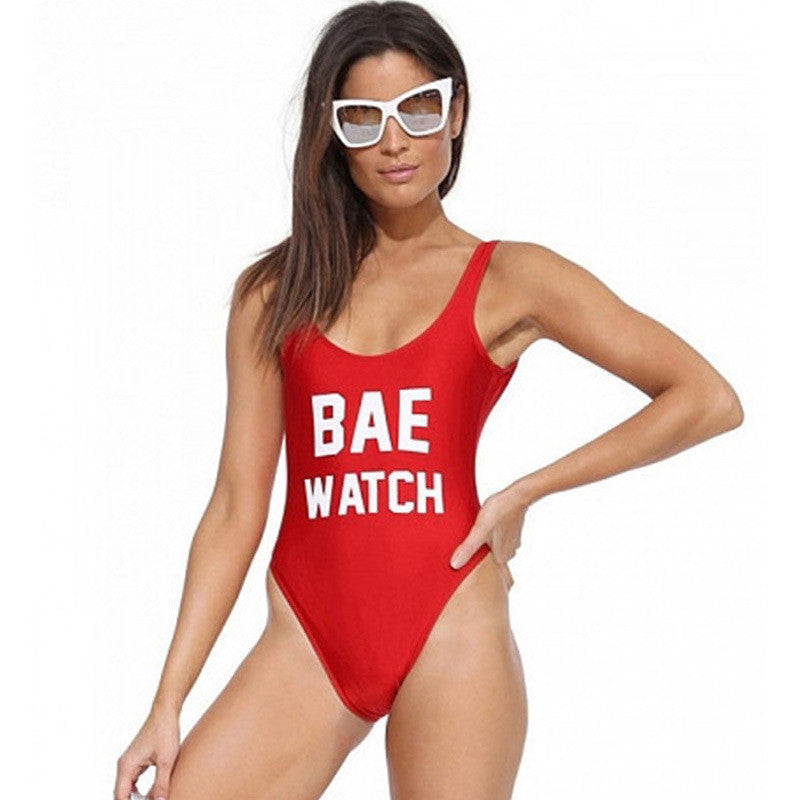 BAE WATCH/Worst Behavior Swimsuit Letter Print One Piece Swimwear Women Red Black Bodysuit Backless Monokini