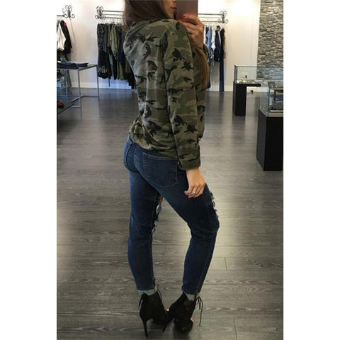 Camouflage Print Women Long Sleeve Slim T-Shirt V-Neck Lace-up Lady Sexy Tops Army Style