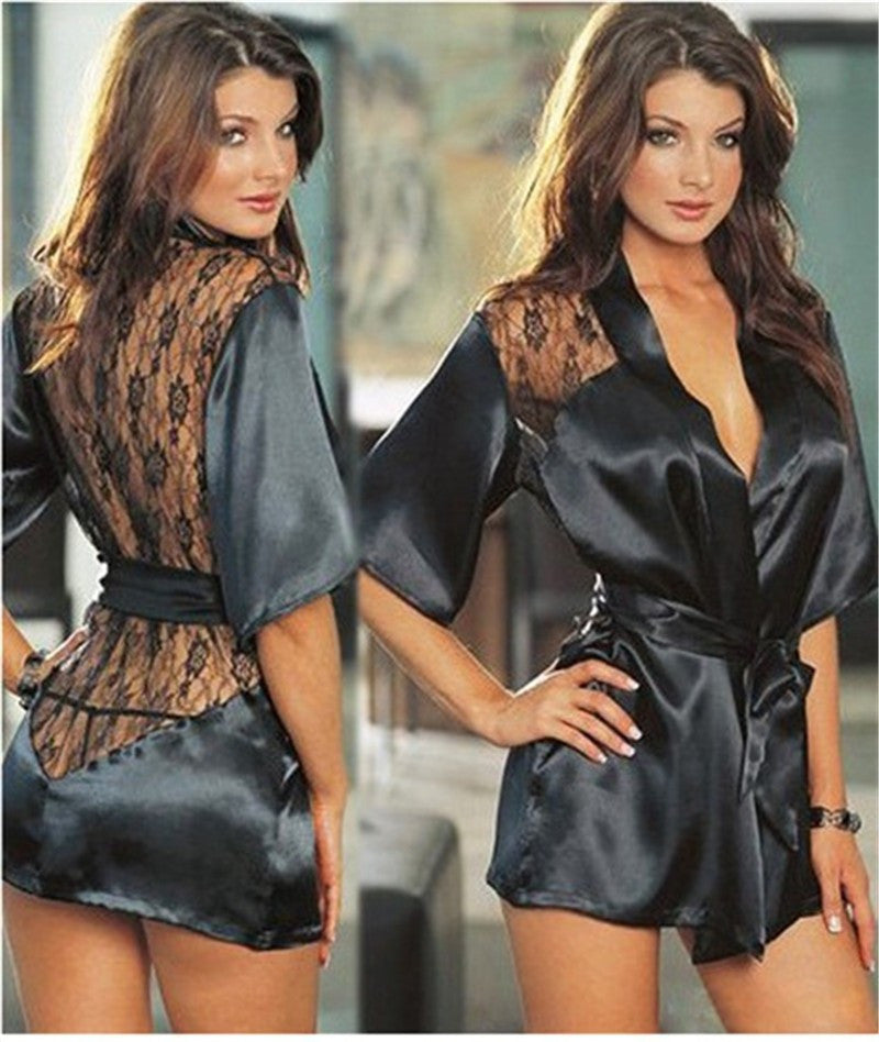Satin Lace Lingerie Black Kimono Intimate Sleepwear Robe-lingerie-Gift Box Planet-S-Gift Box Planet