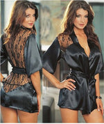 Satin Lace Lingerie Black Kimono Intimate Sleepwear Robe