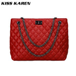 KISS KAREN Stylish Diamond Lattice Pattern PU Leather Handbag