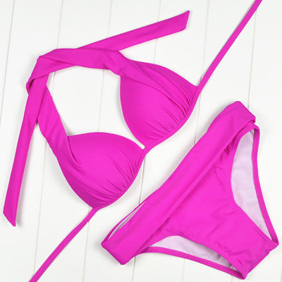 New Hot Sexy Pacthwork Push up Vintage Bikini Set