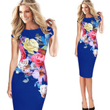 Elegant Flower Floral Printed Ruched Cap Sleeve Dress