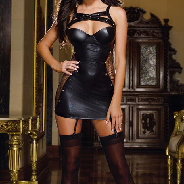 Sexy Latex Leather Erotic Catsuit Dress-lingerie-Gift Box Planet-black-L-Gift Box Planet