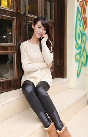 Four leather stitching leather leggings