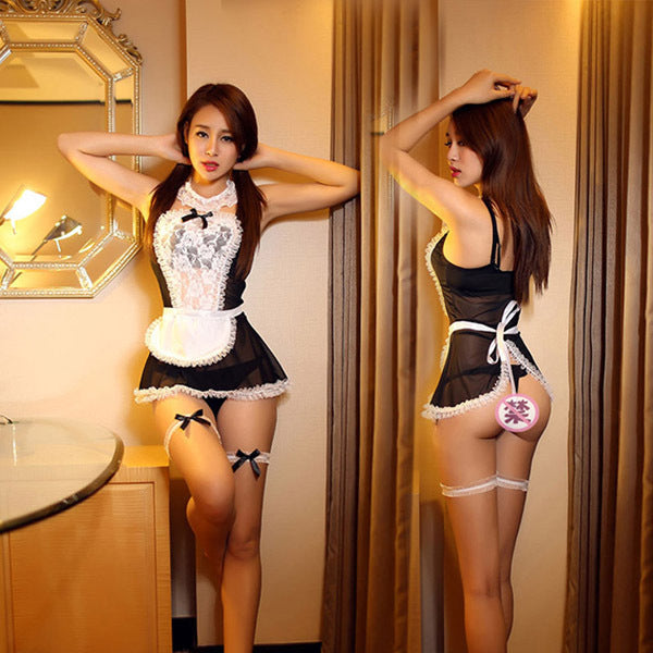 Sexy Maid Costumes 3 Colors Transparent Lace Erotic Lingerie - French Maid Cosplay