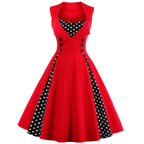 Plus size Women Red polk dot vintage Rockabilly  Party Dress