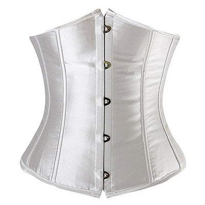 Women CorsetWaist Cincher Gothic Corset Top Bustier Plus Size S-6XL-lingerie-Gift Box Planet-Satin White-S-United States-Gift Box Planet