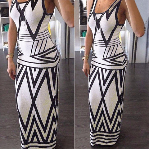 Women Geometric Print Summer Long Maxi Dress 2016 Fashion Casual Summer Sleeveless Bodycon Slim Party Dresses Vestidos White