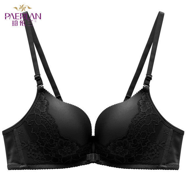 Front button glossy seamless push up female sexy lace bra-lingerie-Gift Box Planet-black-70B-Gift Box Planet