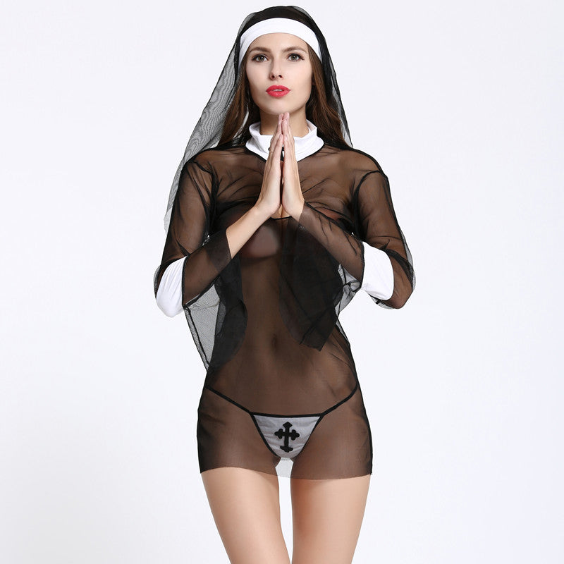 Hot Cosplay Nun lingerie Costume