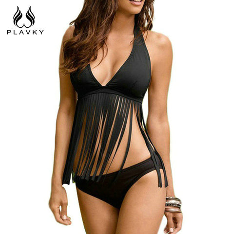 2018 New Sexy Women Swimsuit Plus Large Size Tassel Halter Top Bikini Set