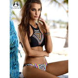 Geometric high neck swimwear bathing suit  brazilian push up bikini set