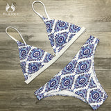 2018 Sexy Ladies White Floral Halter Bikini Swimsuit
