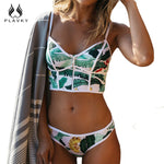 2018 Sexy Floral Bikini Zipper High Neck Swim Bathing Suit