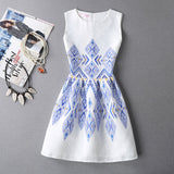 New printed flower dress sleeveless knee length