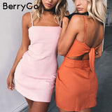 Bow Backless casual linen sexy dress - beach summer dress - women sundress