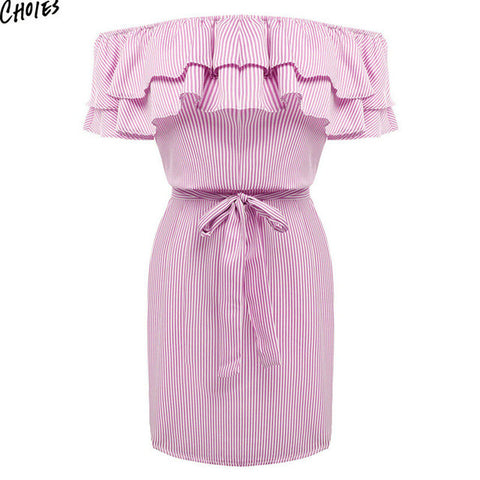 Women Off the Shoulder Striped Layered Ruffle Tie Waist Mini Dress
