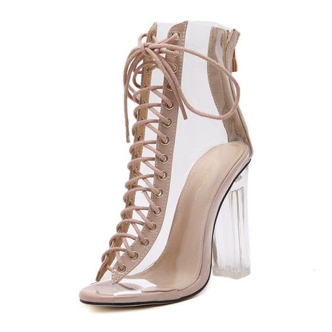 Transparent Gladiator Sandals Cross Strappy Peep Toe Shoes