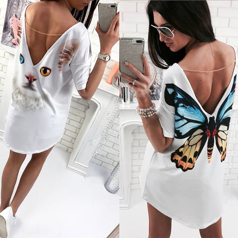 Casual Butterfly - Cat printed O Neck V backless Loose white Dress