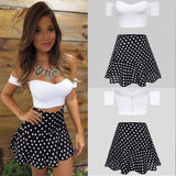 Women 2 Piece Set Strapless Cold Off Shoulder Crop Tops + Backless Slim Fit Dress