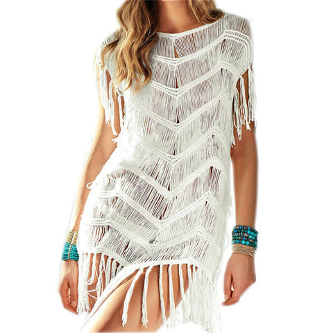 Beach Cover up Crochet Pareos Tassel Beach Dress