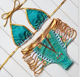 Summer New Style Print Two-Pieces Bath Suits Bikini Set Sexy Geometric Swimwear Gold High Waist Swimming Suit