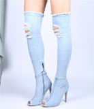 Hot Denim Peep Toe Fashion Boots