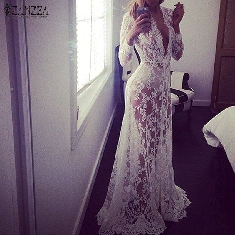 European Sexy Lace Embroidery Maxi Solid White Dress