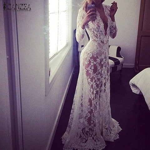 2018 Summer European Style Womens Sexy Lace Embroidery Maxi Solid White Dress Long Sleeve Deep V Neck Vestidos Plus Size S-XL