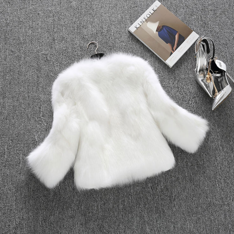 Short Fur Faux Rabbit 3/4 Sleeve Coat