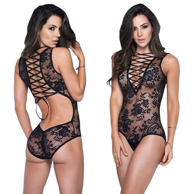Sexy Lace Hollow Out Deep V Bandage Babydoll-lingerie-Gift Box Planet-Black-One Size-Gift Box Planet