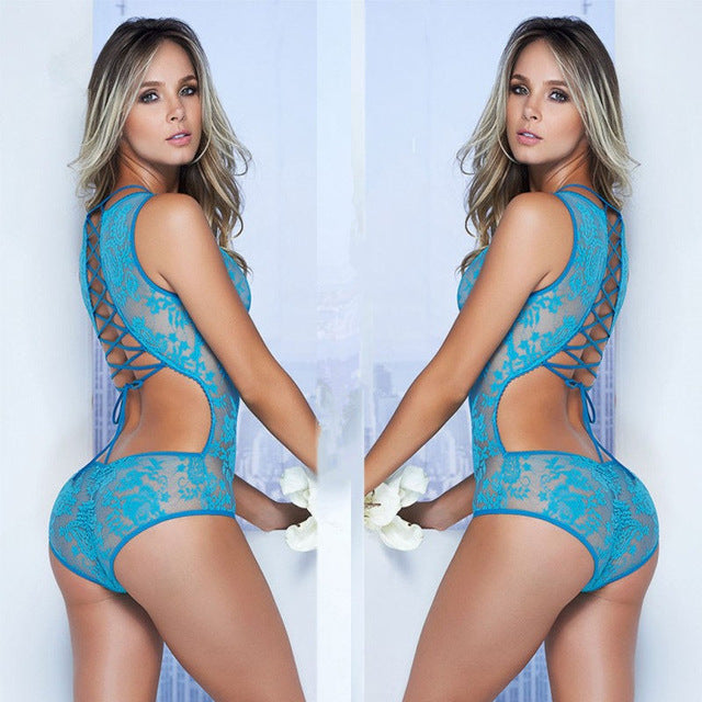 Sexy Lace Hollow Out Deep V Bandage Babydoll-lingerie-Gift Box Planet-Blue-One Size-Gift Box Planet