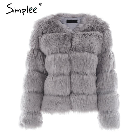 Simplee Vintage Fluffy Short faux fur coat