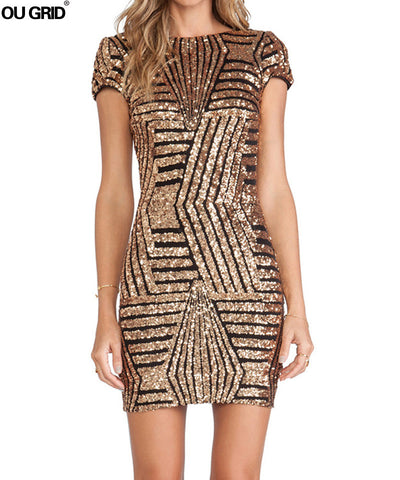 Sexy Dresses 2017 New Arrivals Backless Sequined Night Club Dress Fashion Short Sleeve O-neck Mini Dress Vestidos