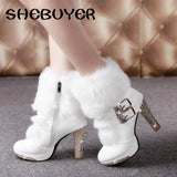 Plush Warm Fur Platform Ankle Boots