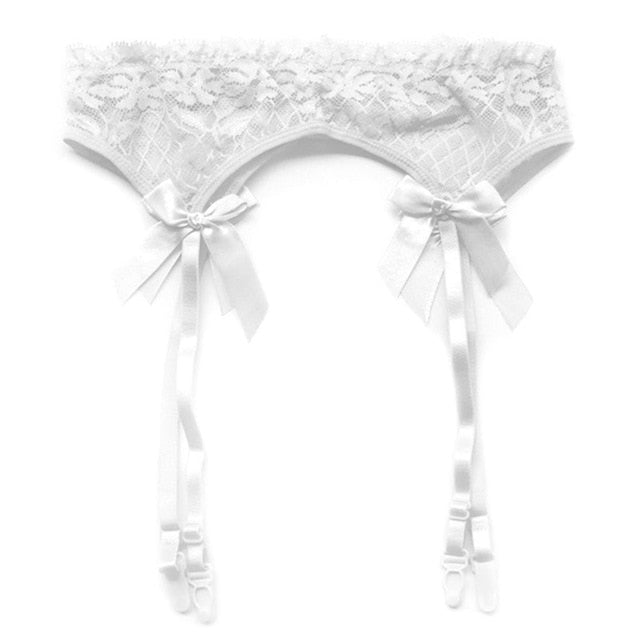 Sheer Lace Garter Belt Suspender Set-lingerie-Gift Box Planet-White-One Size-Gift Box Planet