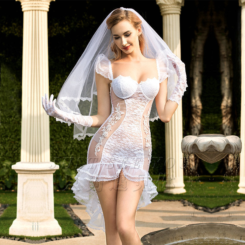 Sexy Erotic Wedding Dress Cosplay Costume
