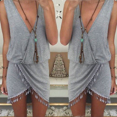 2018 Boho Sleeveless Asymmetrical Tassel Dress
