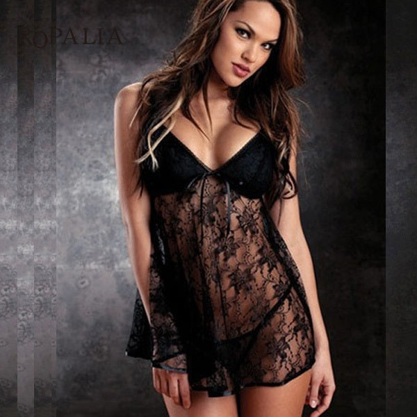 Sexy Plus Size Lingerie - V-neck Lace Sleepwear & G-string Set-lingerie-Gift Box Planet-Black-M-Gift Box Planet