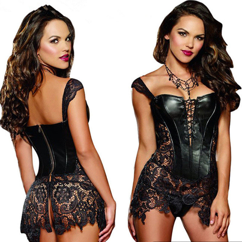 Leather n Lace Buckle-up Corset Bustier Basque with G-string