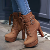 Waterproof Small round Thick Square high Heels Zip Exquisite belt buckle Soft leather Ankle Boots Size 30-48 T1759