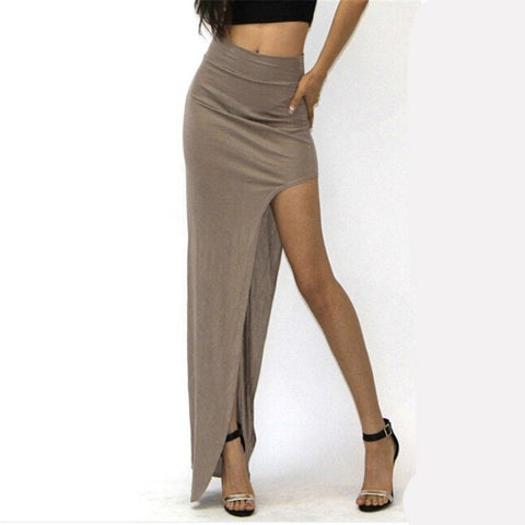 2017 New Fashion Charming Sexy Women Lady Long Skirts Open Side Split Skirt Long Maxi Skirt Black