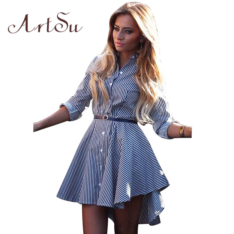 2019 New Fashion Women Sexy Long Sleeve Mini Elegant Short Dress Pinstripe Dress