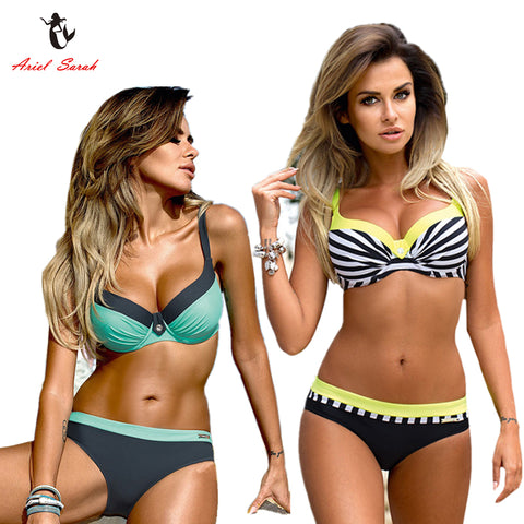 2018 Striped Bikini Plus Size Swimwear